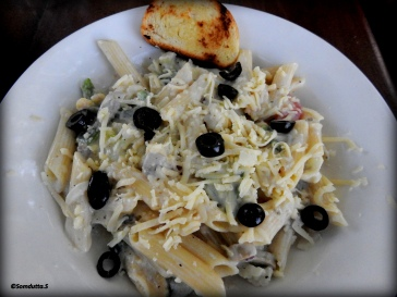 Yummy pasta at a cafe outside the Temple
