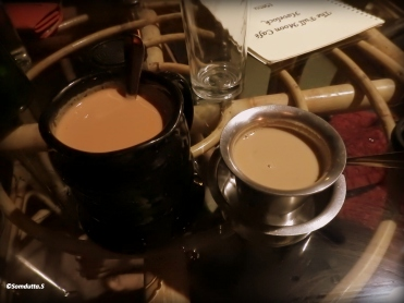 Filter coffee and ginger tea