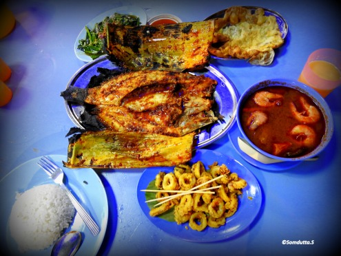 Traditional Sea Food spread of the Malaysian cuisine